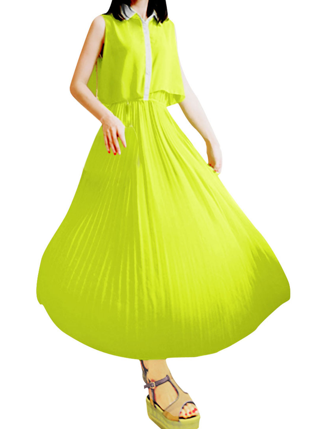 Lady Sleeveless Button Up Semi-sheer Lining Dress Fluorescent Yellow S