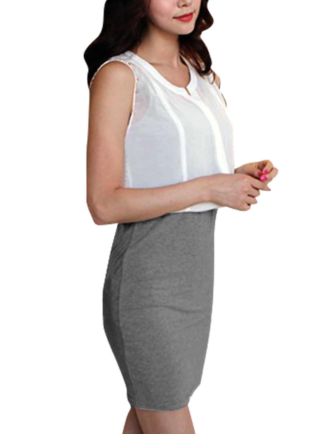 Lady Hip Tight Fashion Sleeveless Button Hidden Heather Gray White Dress XS