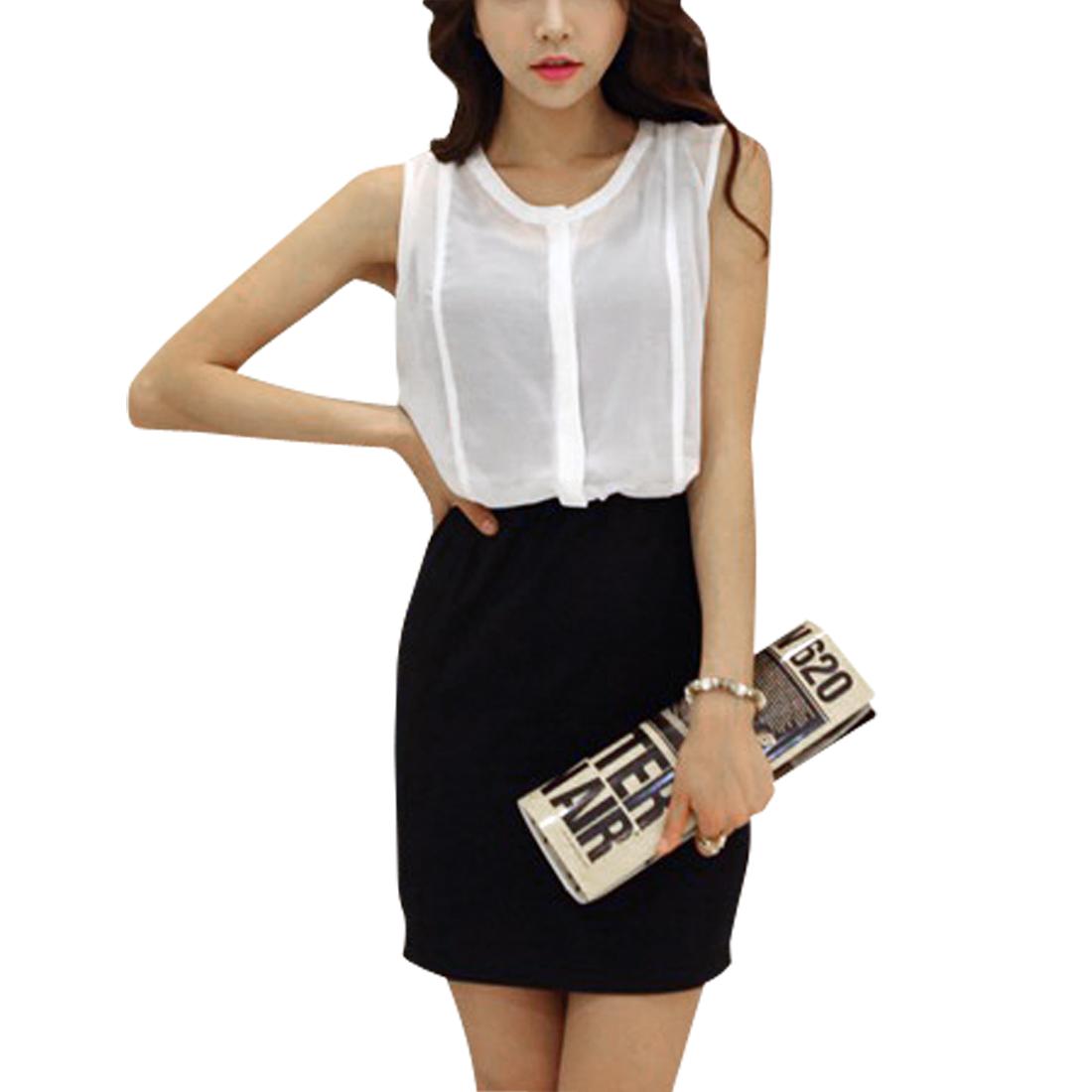 Lady Button Up Hidden Sleeveless Hip Tight Black White Mini Dress XS