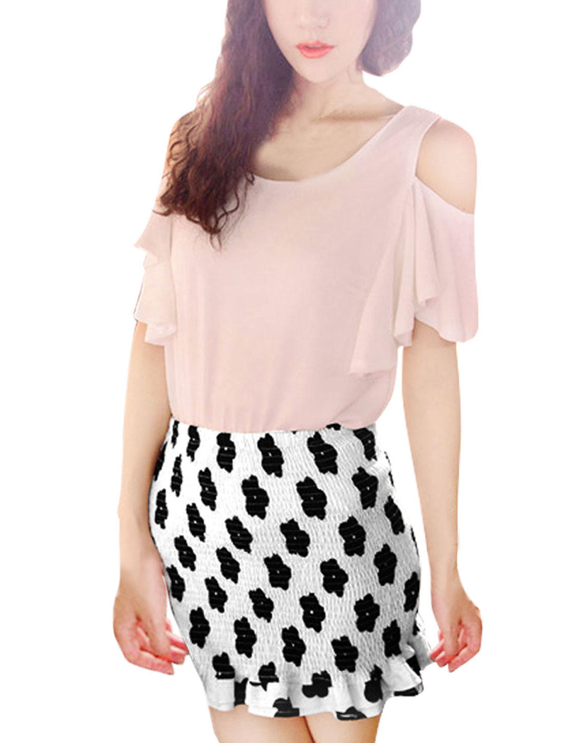 Lady Elasitc Waist Flower Prints Close-fit White Mini Skirt XS