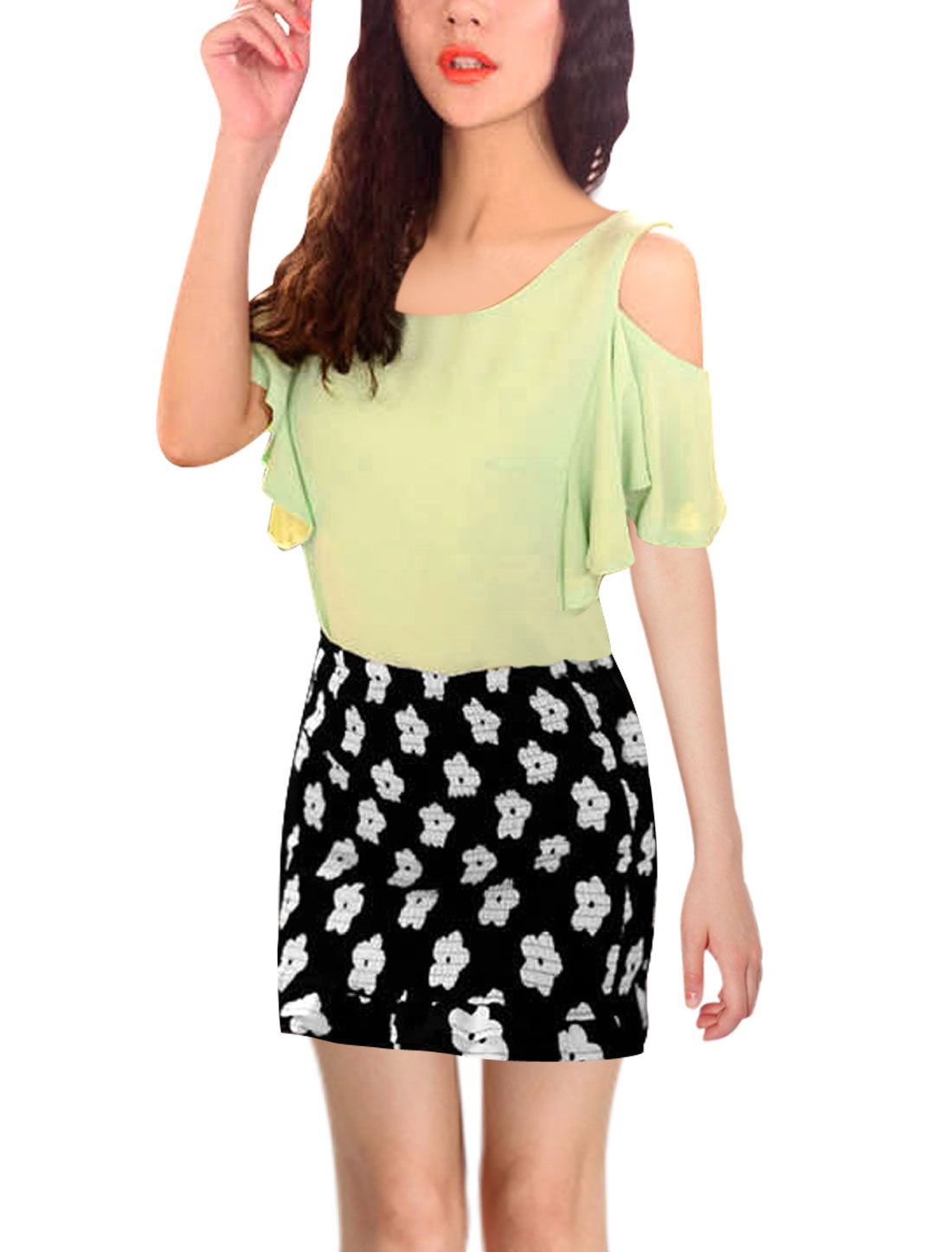 Lady Natural Waist Stretchy Ruched Floral Pattern Black Skirt XS
