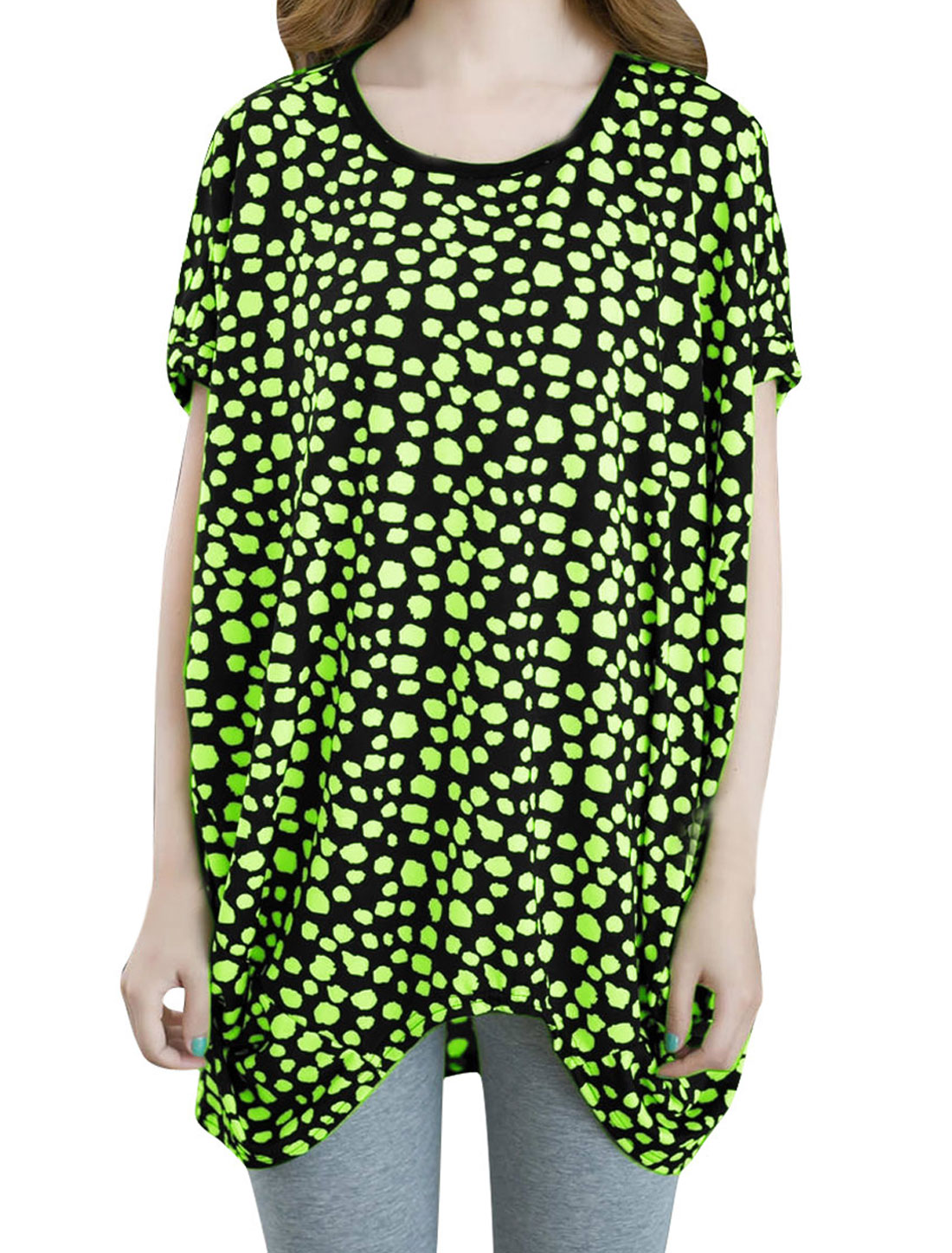 Women Dipped Hem Dolman Dots Prints Fashion Shirt Lime S
