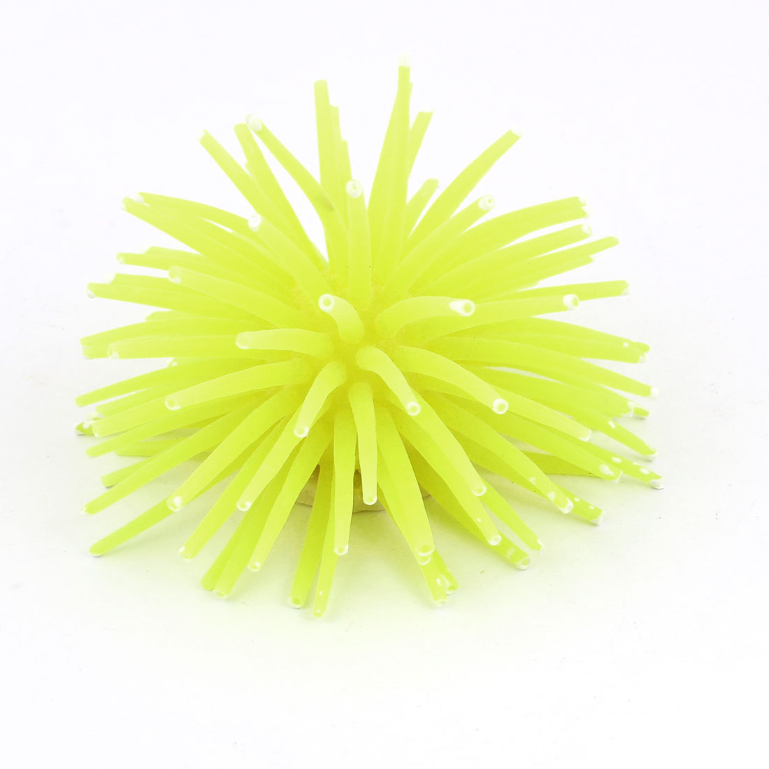 Yellow White Soft Silicone Coral Shaped Ornament for Fish Tank