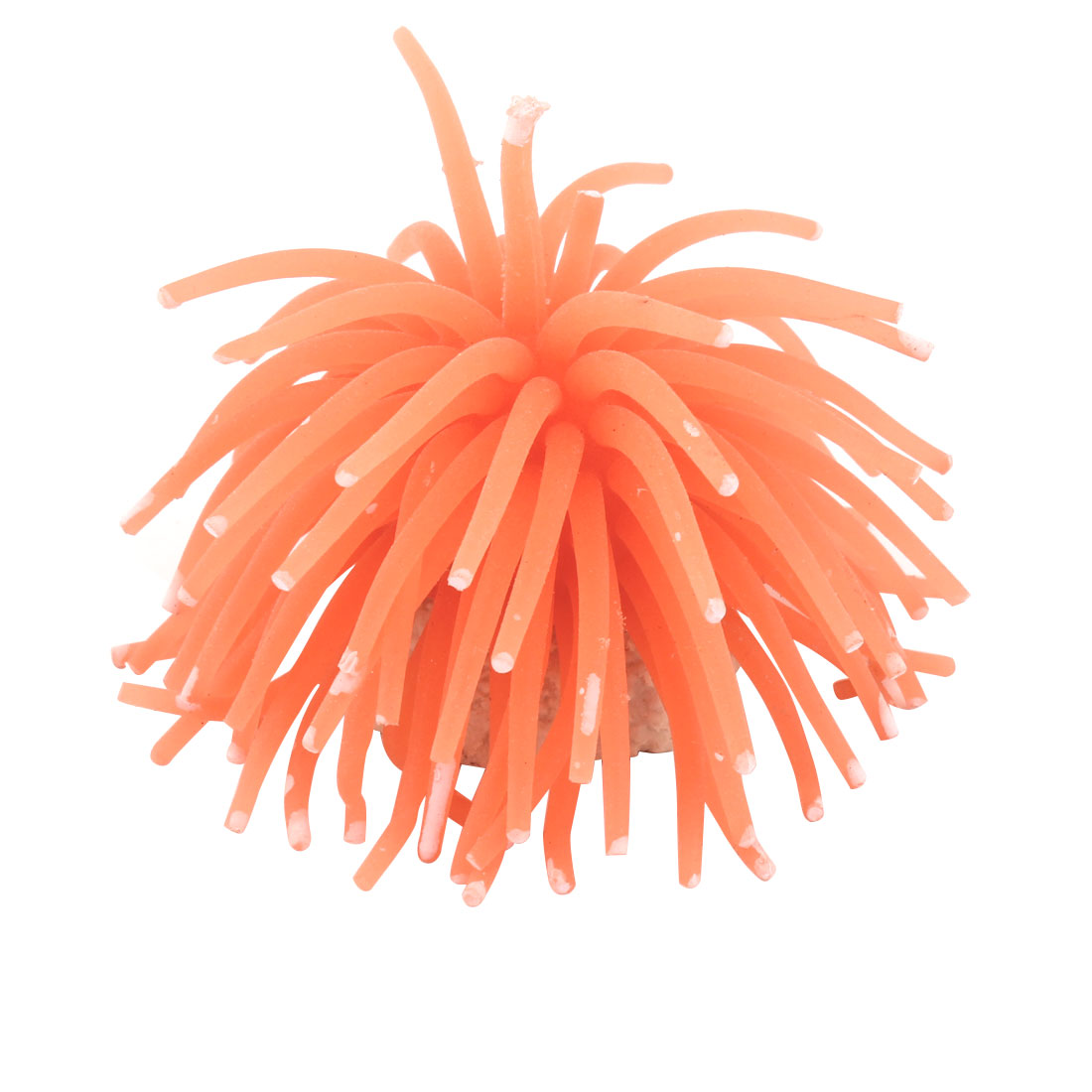 Soft Silicone Coral Shaped Orange White Sea Urchin Decor for Fish Tank