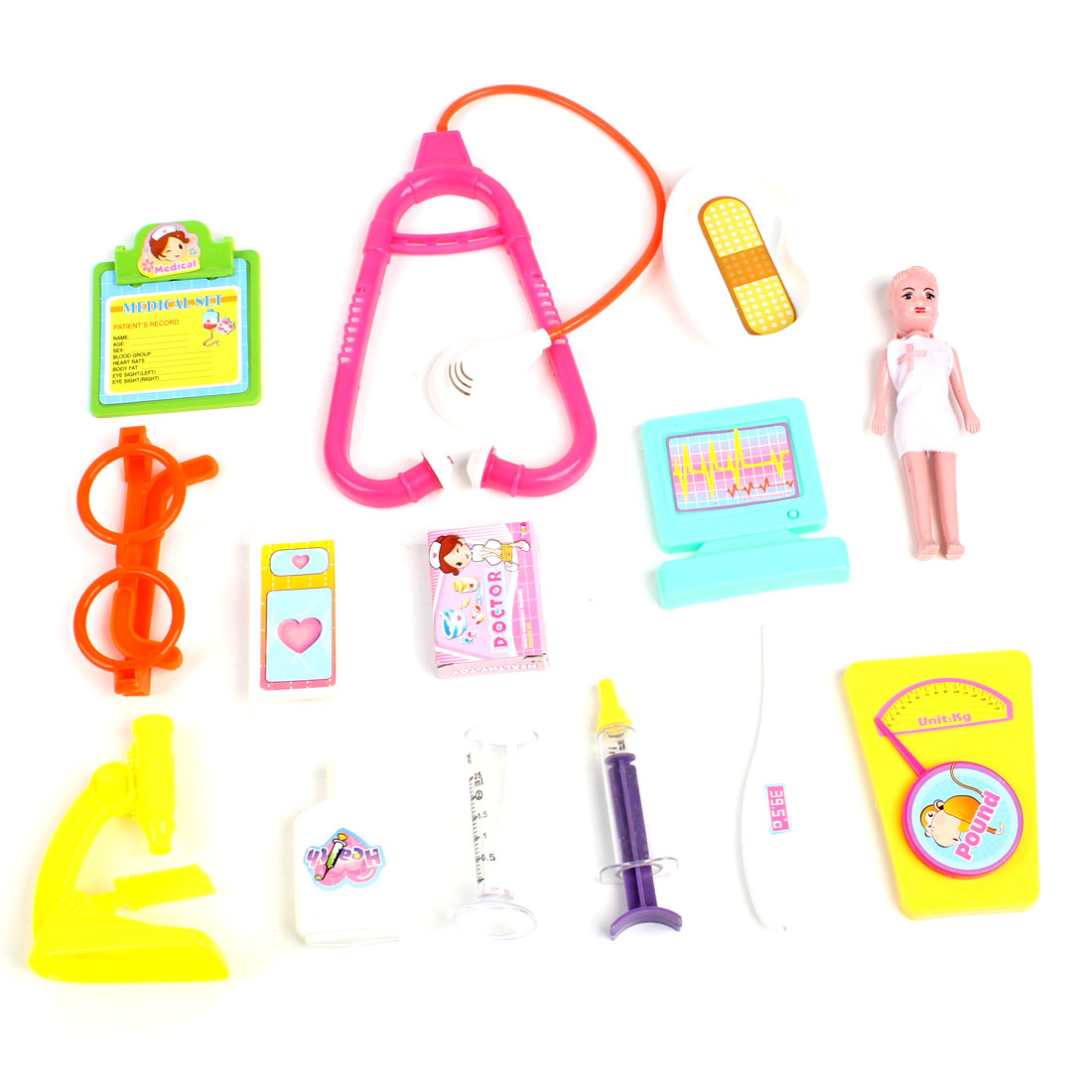 Plastic Doctor Tools Set 14 in 1 Green Pink Yellow Toy for Children Kids