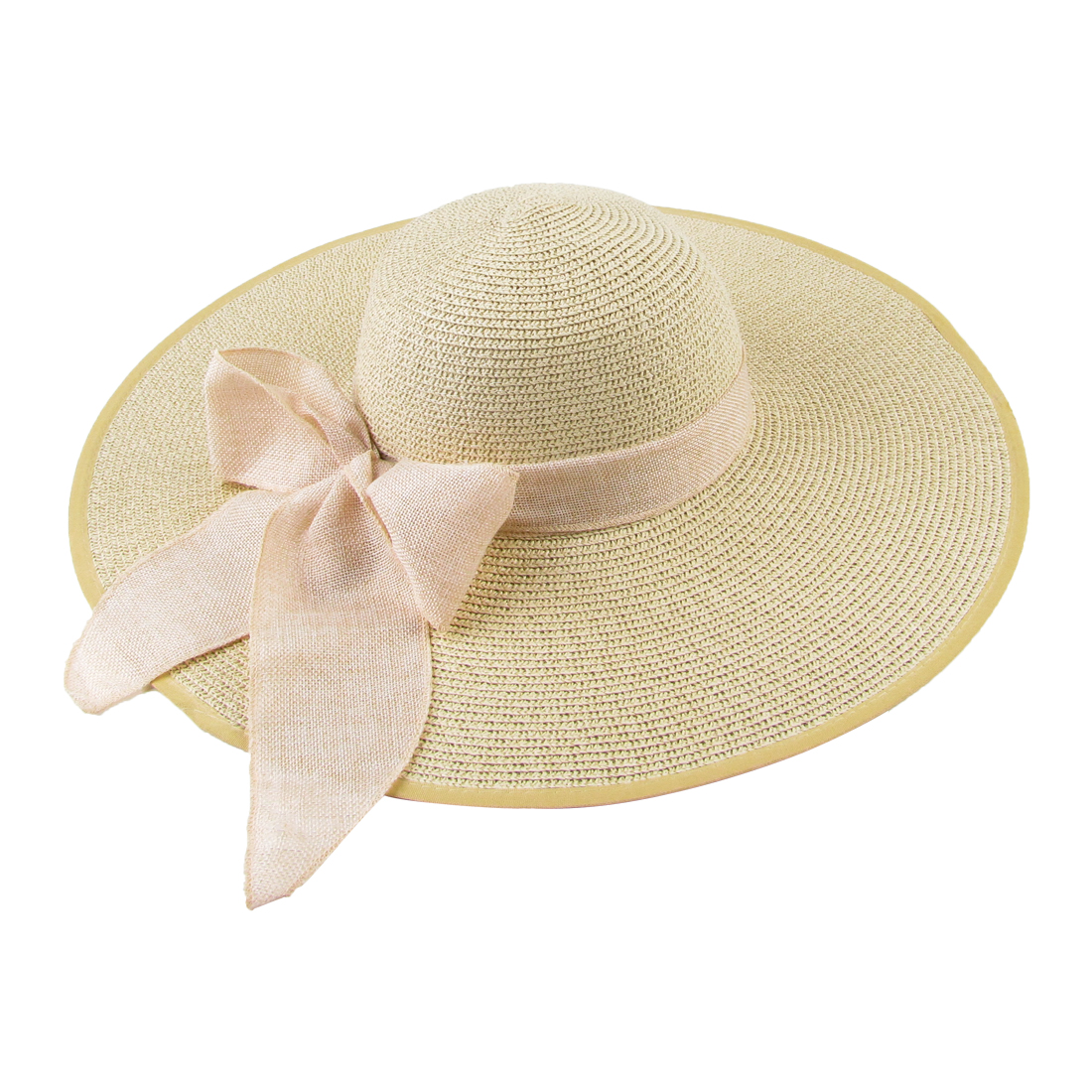 Lady Round Brim Woven Straw Sweet Style Casual Simple Straw Hat Beige