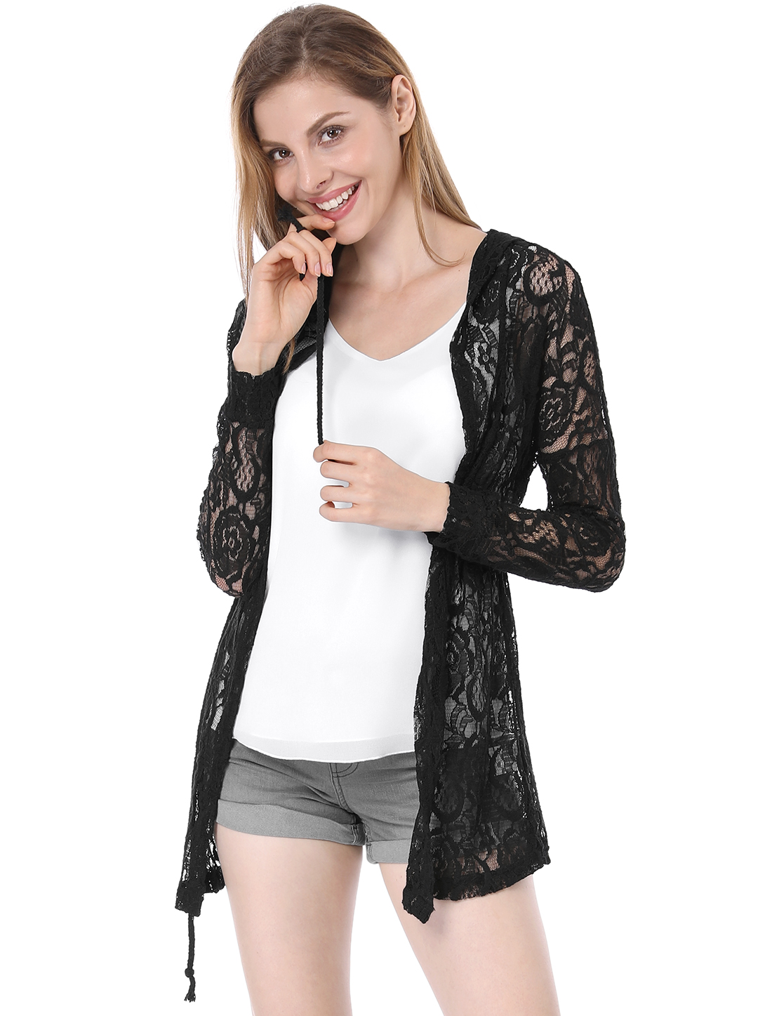 Woman New Fashion Drawstring Waist Semi-Sheer Lace Design Black Coat L