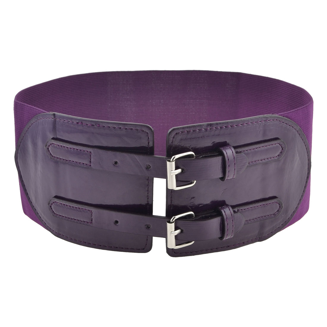 Purple Wide Elastic Band Faux Leather Two Buckles Belt for Ladies