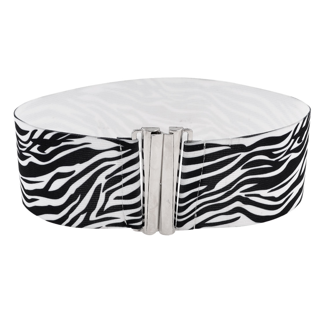 White Black Zebra Pattern Interlocking Buckle Belt for Ladies