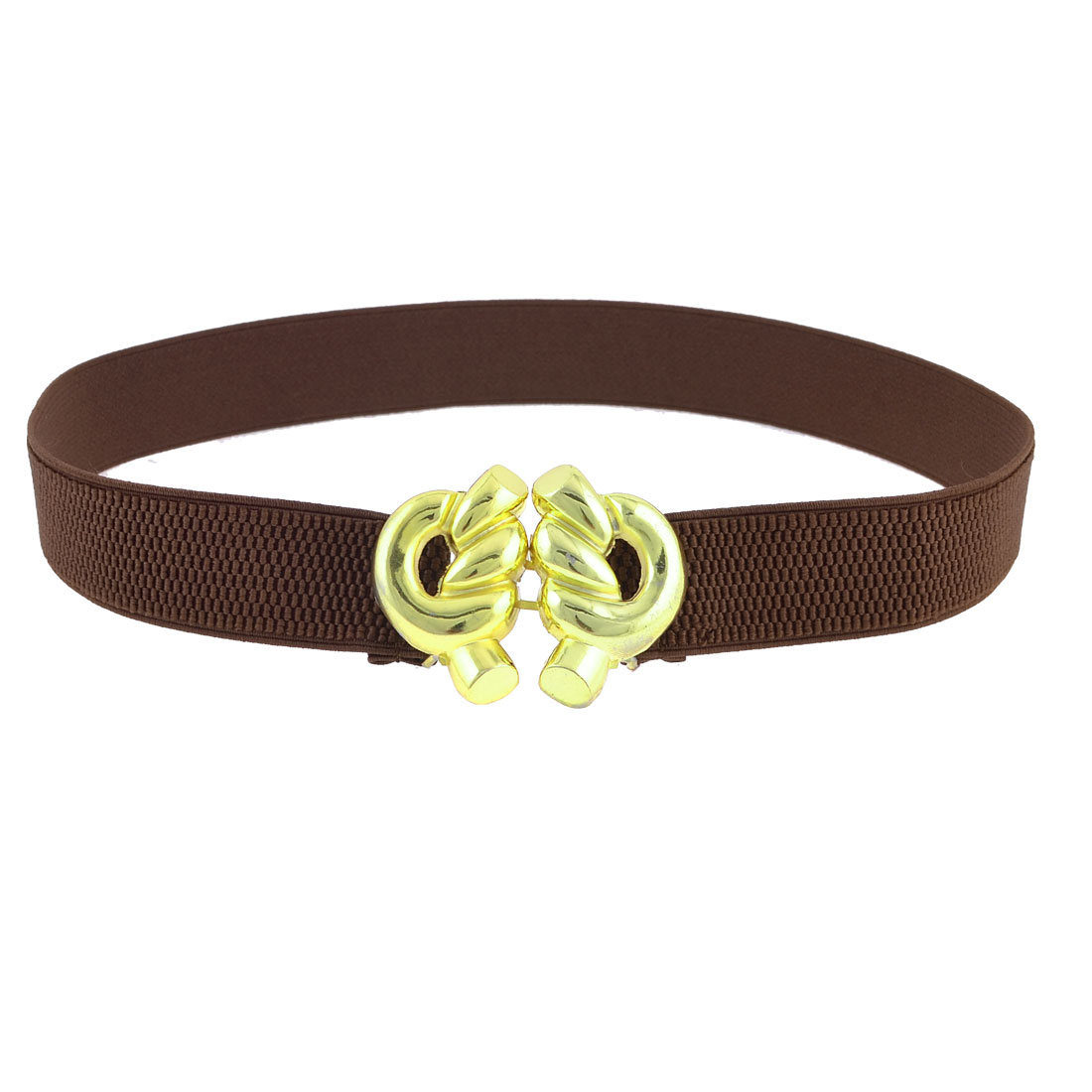 Brown Elastic Band Gold Tone Rope Knot Buckle Belt for Women