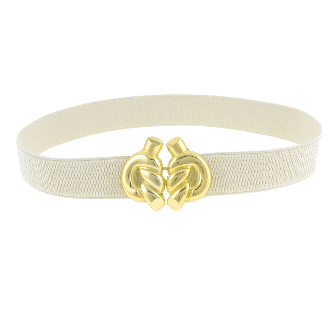 White Elastic Band Gold Tone Rope Knot Shape Buckle Belt for Ladies