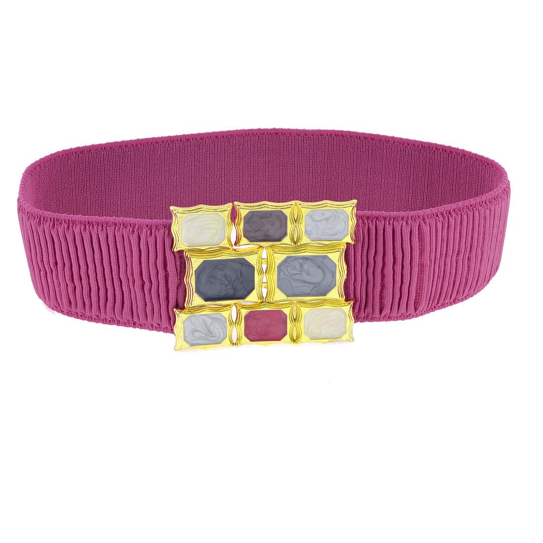 Fuchsia Pleated Elastic Band Gold Tone Metal Waist Belt for Women