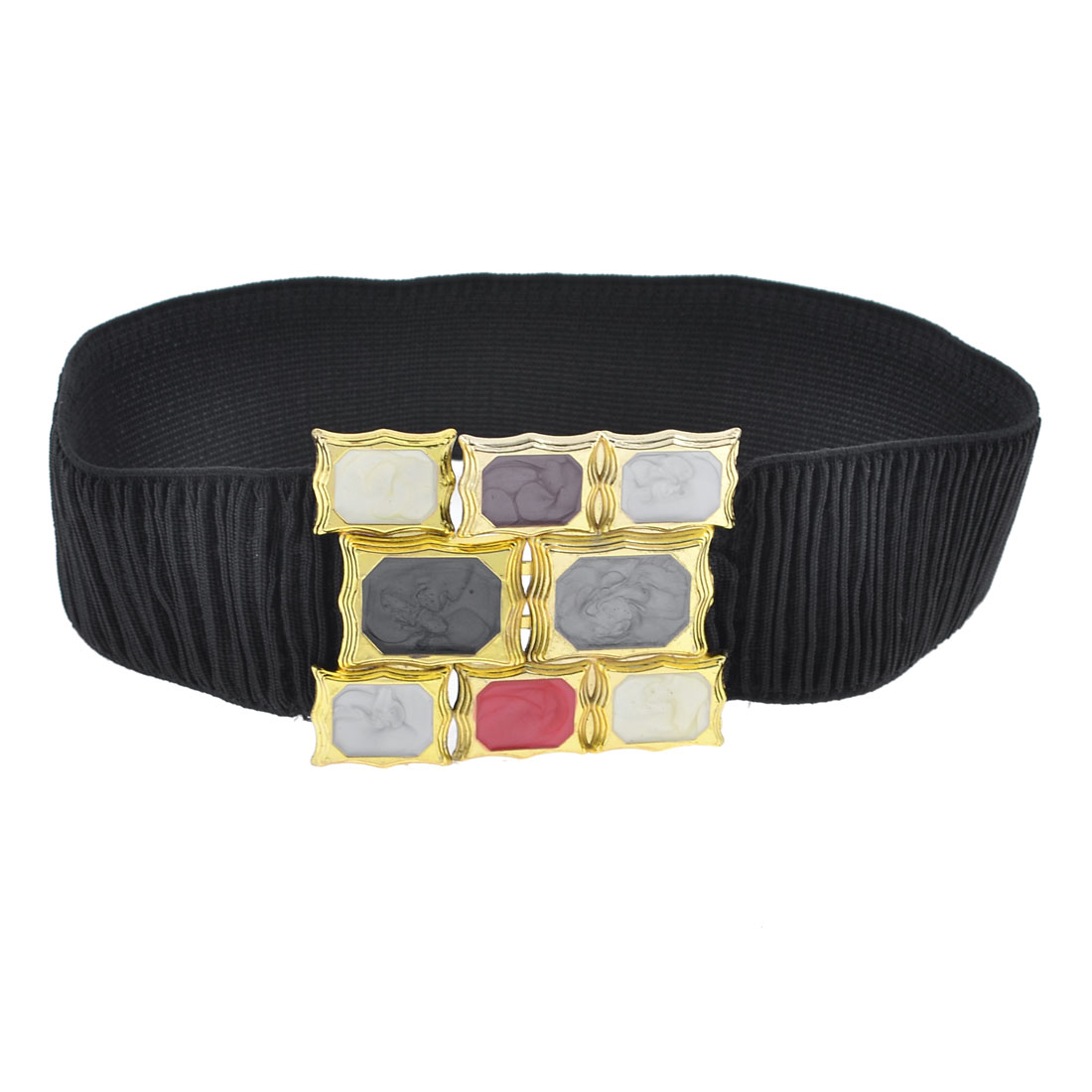Black Cotton Blend Elastic Fabric Gem Pattern Buckle Belt for Girls