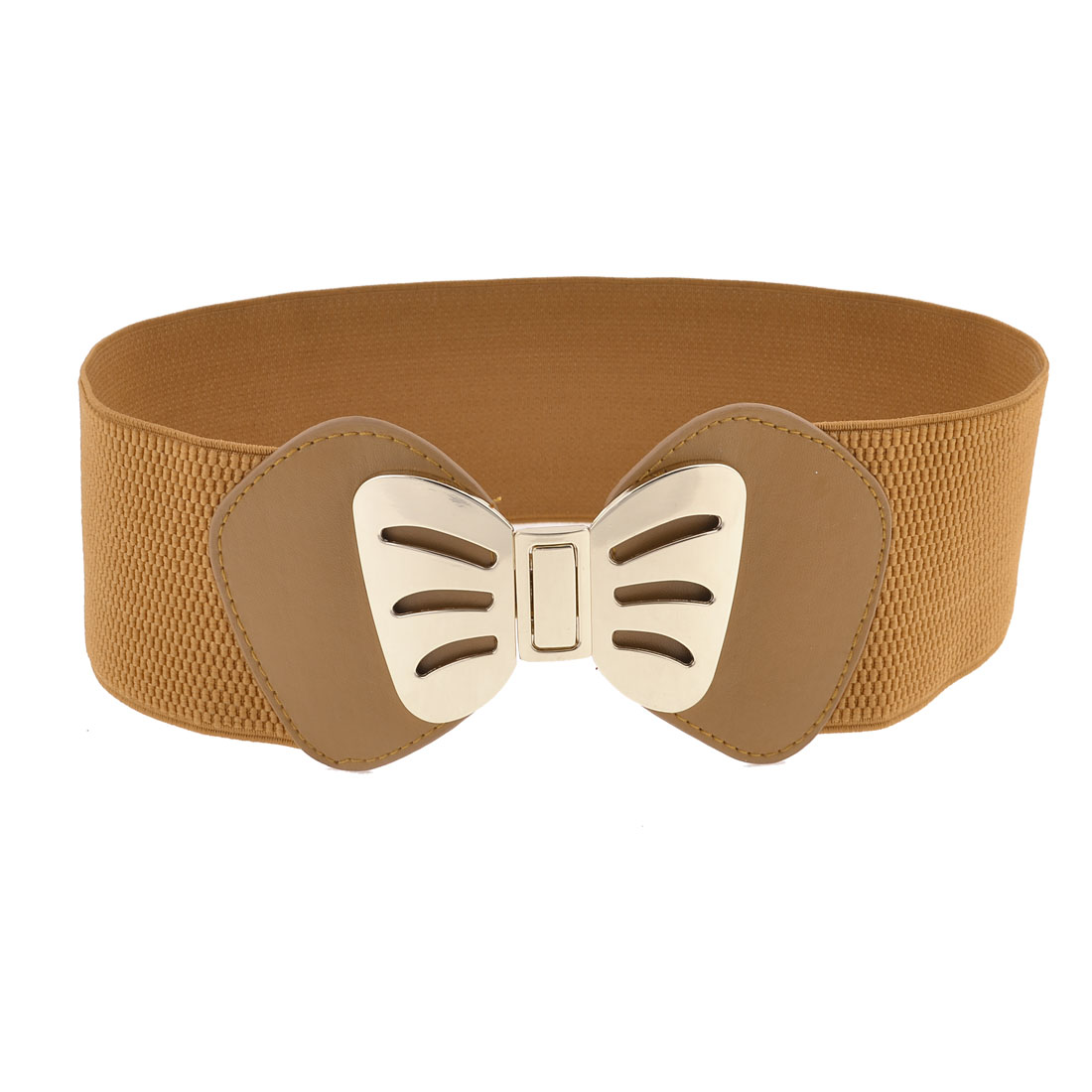 Brown Wide Stretchy Band Faux Leather Gold Tone Butterfly Belt for Girls