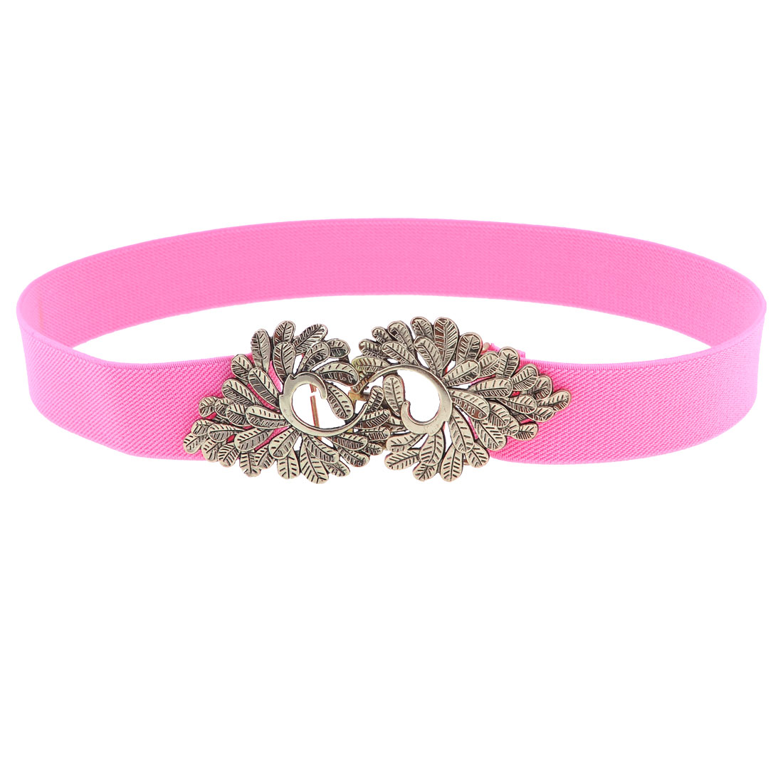 Pink Elastic Stretchy Band Lavies Shape Buckle Belt for Ladies