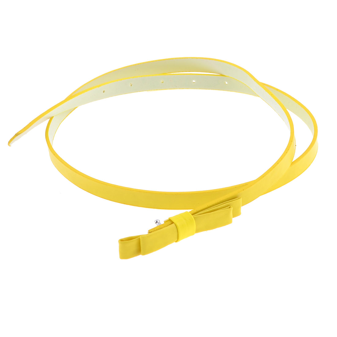 Yellow Slim Faux Leather Press Buckle Bow Knot Decor Belt for Girls