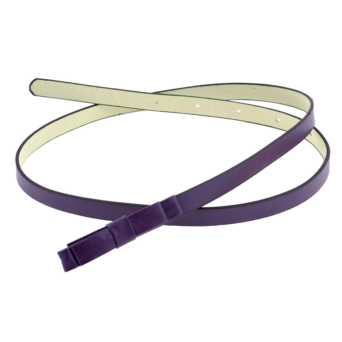 Purple Slim Faux Leather Bowknot Decor Press Buckle Belt for Girls