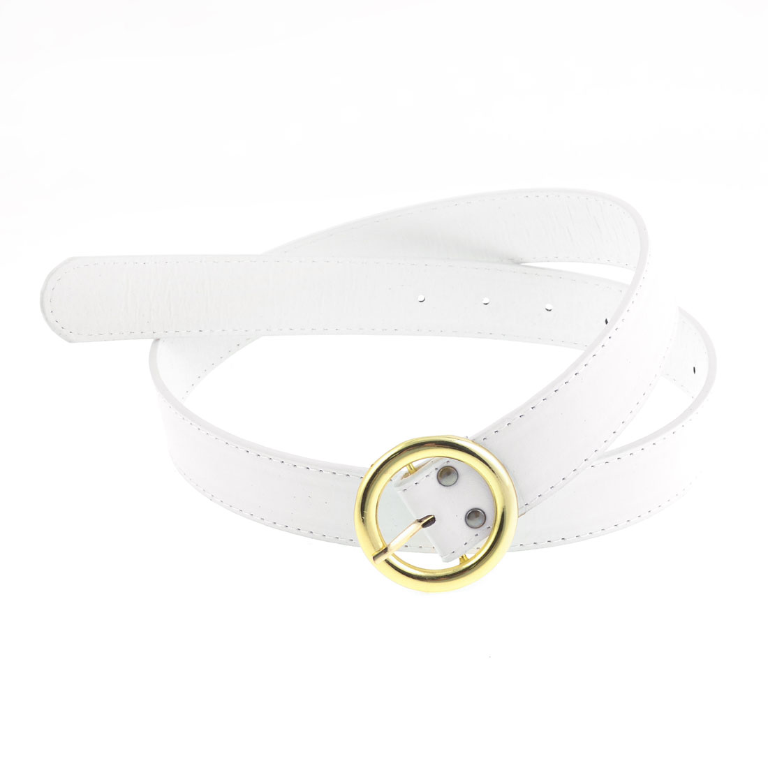 White Faux Leather Gold Tone Round Single Pin Buckle Belt for Men