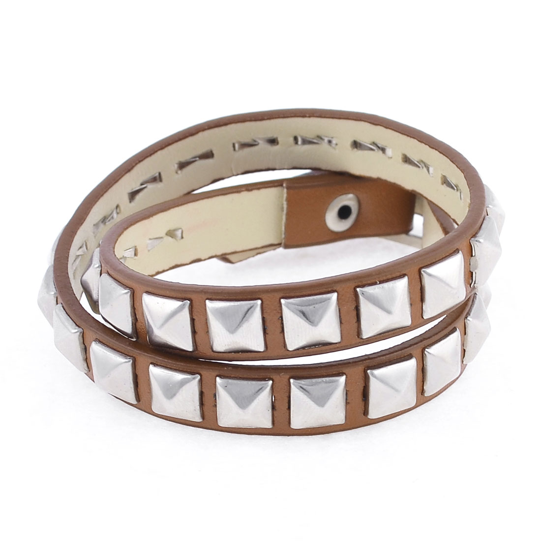 Brown Faux Leather Double Wrap Bracelet for Girls