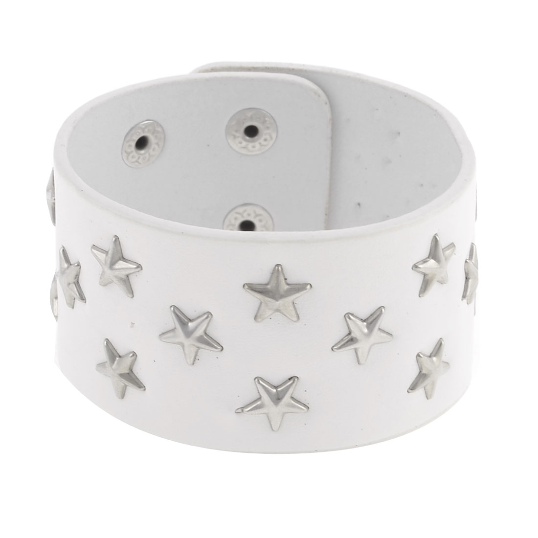 White Faux Leather Stars Decor Hand Bracelet for Ladies