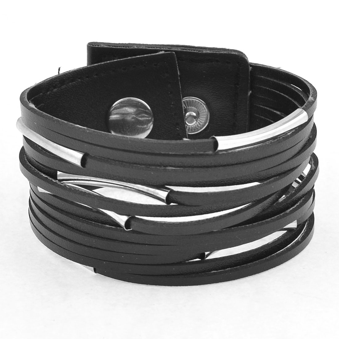 Black Faux Leather Siver Tone Tubes Accent Bracelet for Ladies