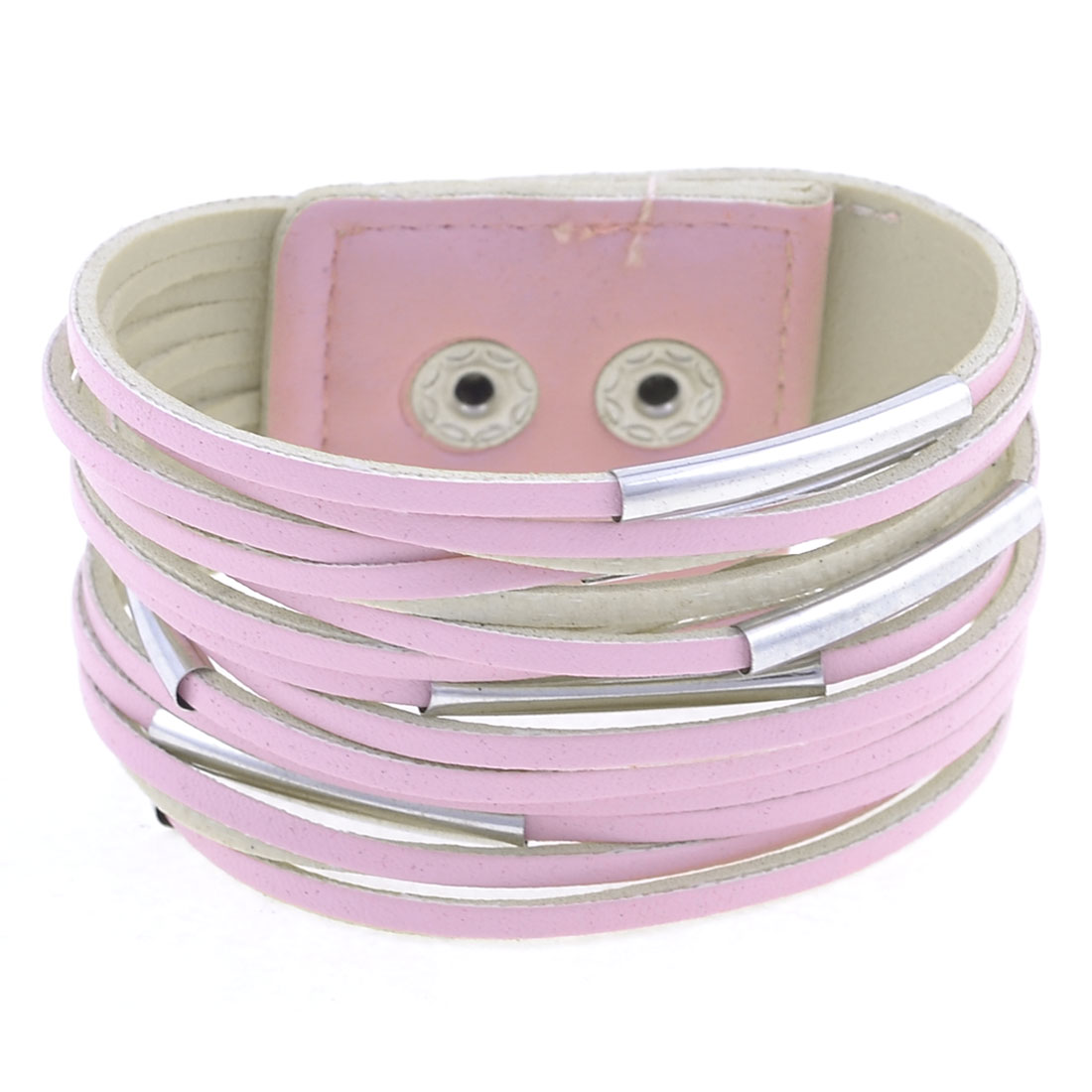 Pink Faux Leather Metal Small Tubes Decor Bracelet for Ladies