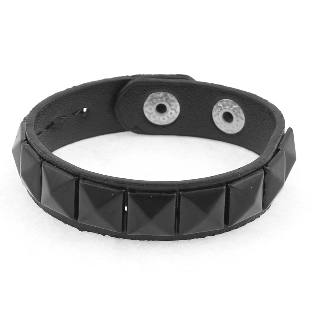 Black Faux Leather Pyramid Rivets Decor Bracelet for Girls