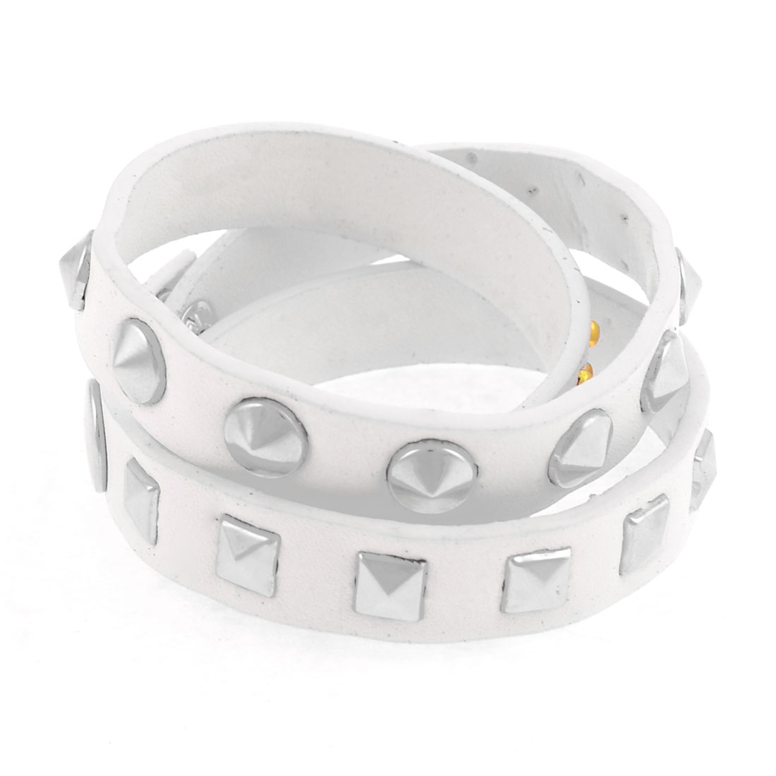 White Faux Leather Gold Tone Round Rivets Decor Wrap Bracelet for Girls