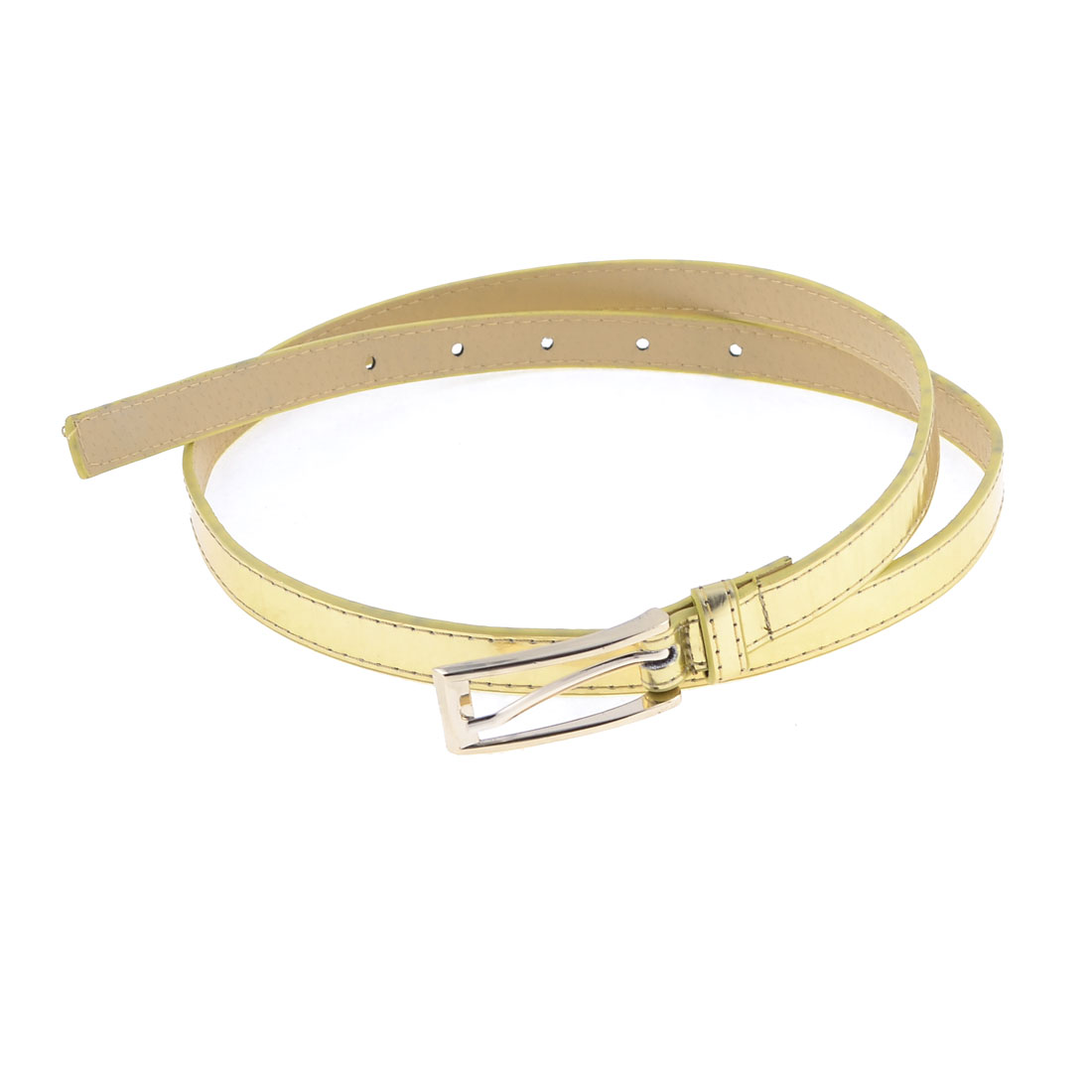 Gold Tone Slim Faux Leather Single Pin Buckle for Ladies