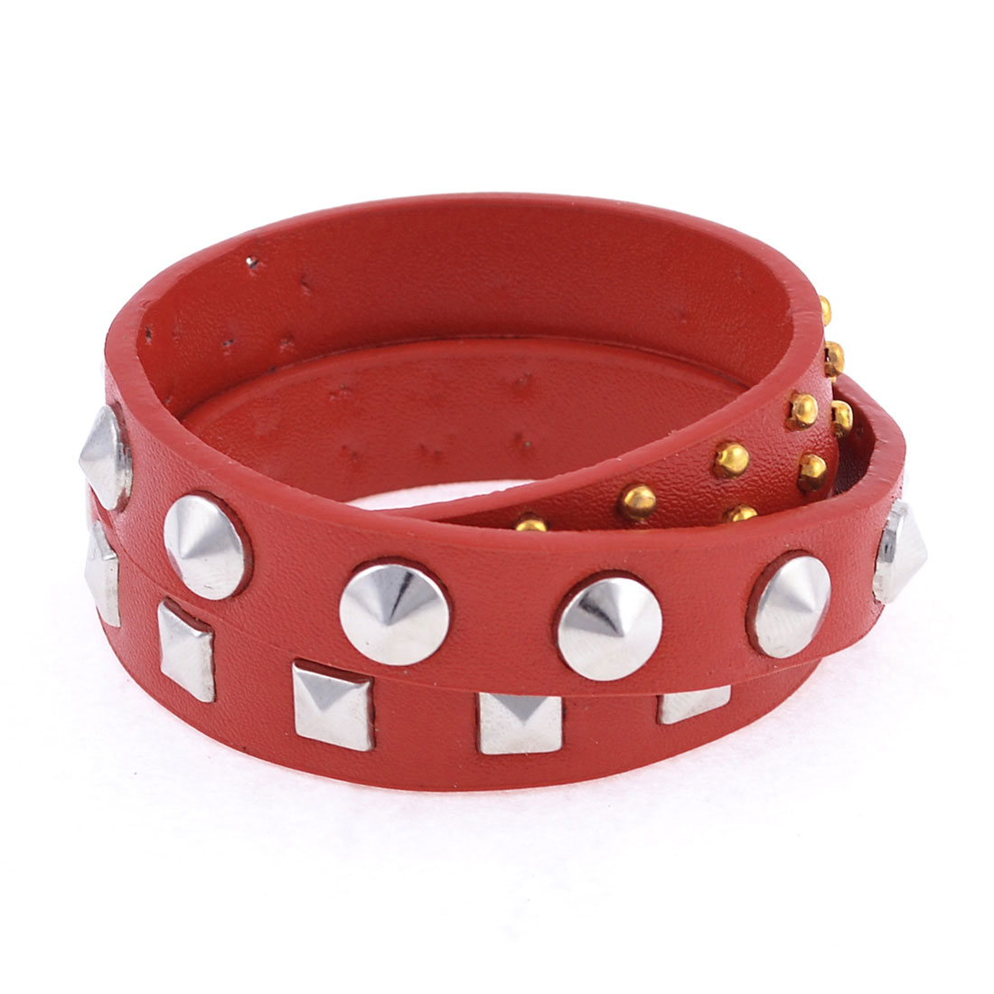 Red Faux Leather Cone Pyramid Rivets Decor Bracelet for Girls