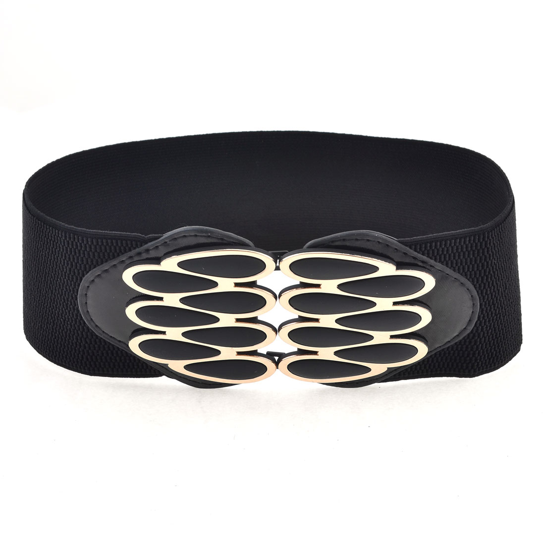 Black Wide Stretchy Band Faux Leather Plastic Waterdrop Decor Belt for Girls
