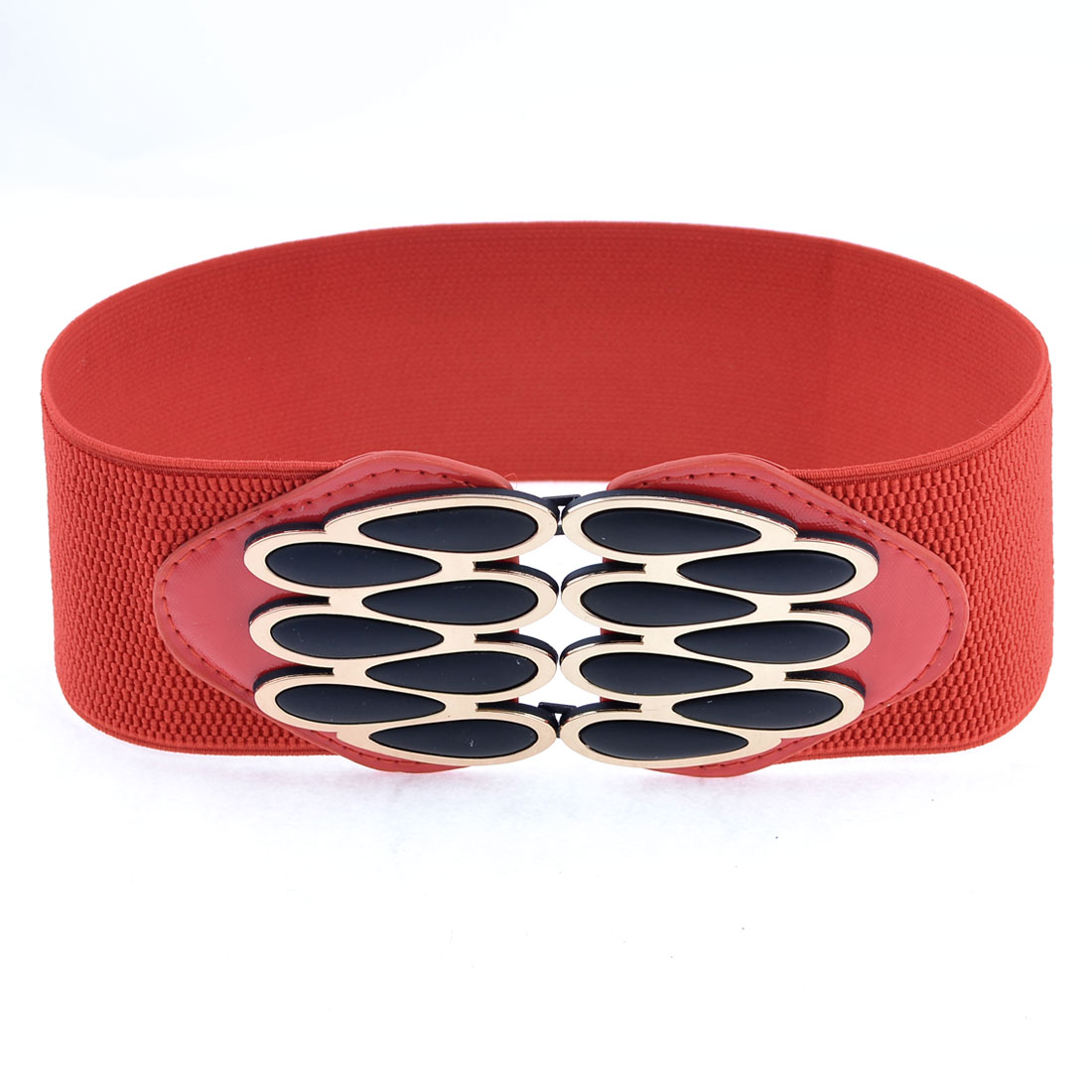 Red Elastic Band Faux Leather Plastic Waterdrop Shape Belt for Women