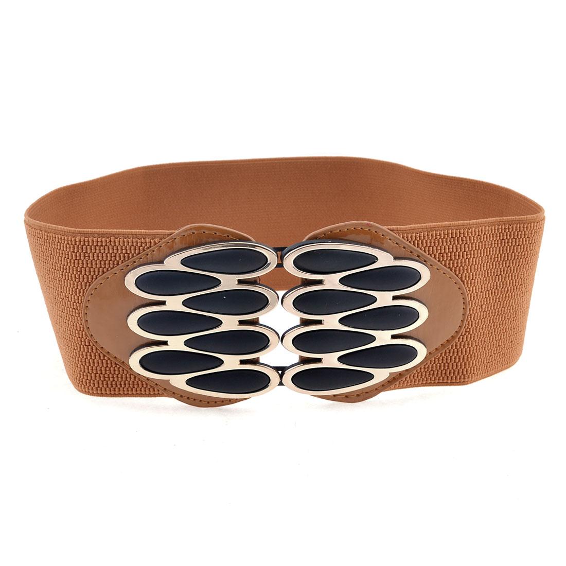 Brown Hidden Interlocking Buckle Elastic Belt for Women