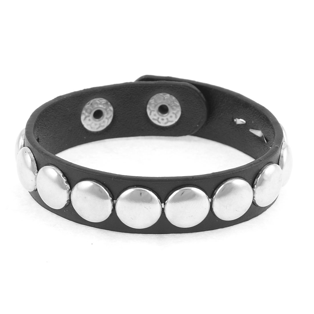 Black Faux Leather Round Rivets Decor Bracelet for Girls