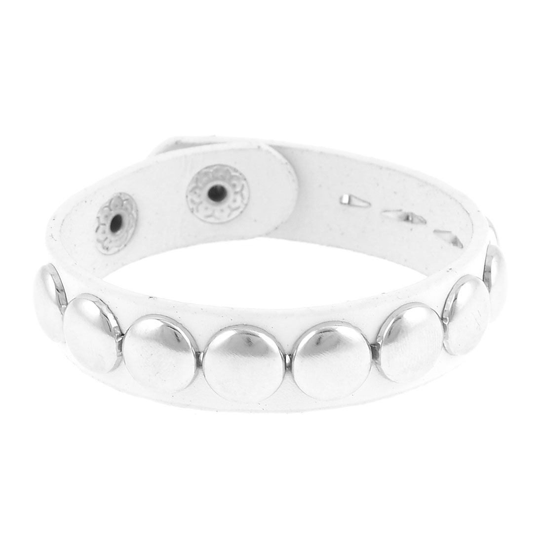 White Faux Leather Metal Rivets Decor Bracelet for Ladies
