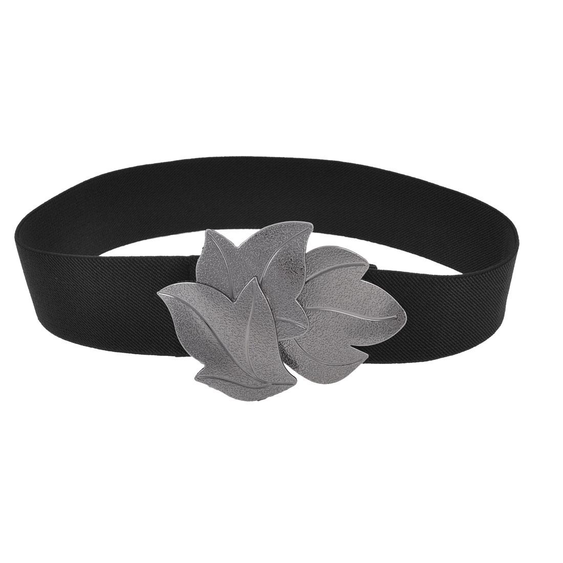 Black Band Metal Maple Leavies Shape Buckle Cinch Belt for Ladies