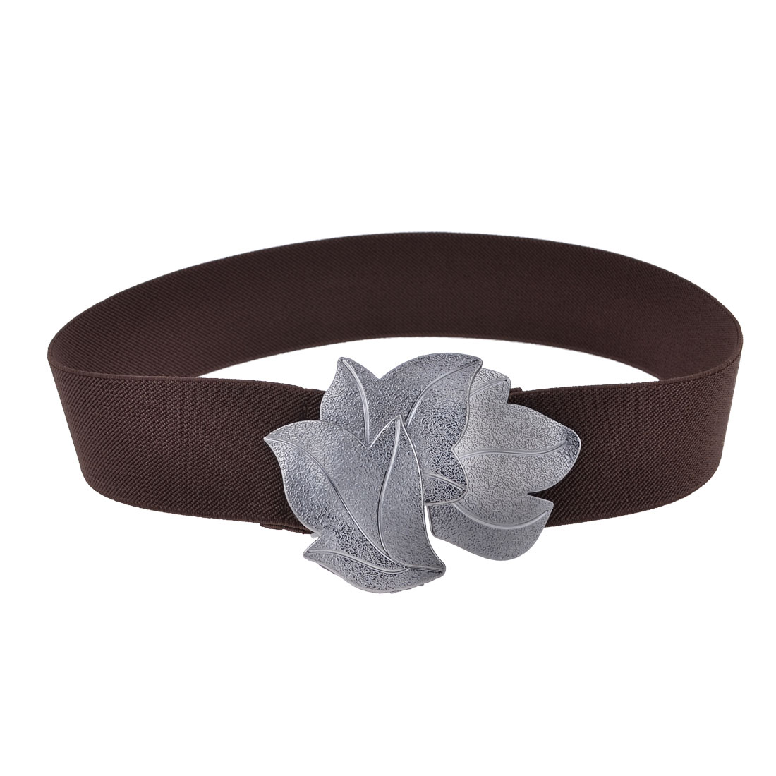 Brown Elastic Stretch Band Metal Single Pin Buckle Belt for Ladies