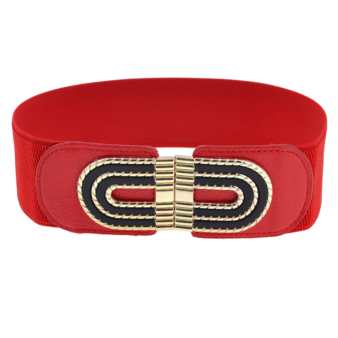 Red Elastic Band Copper Tone Arched Door Shape Buckle Belt for Girls