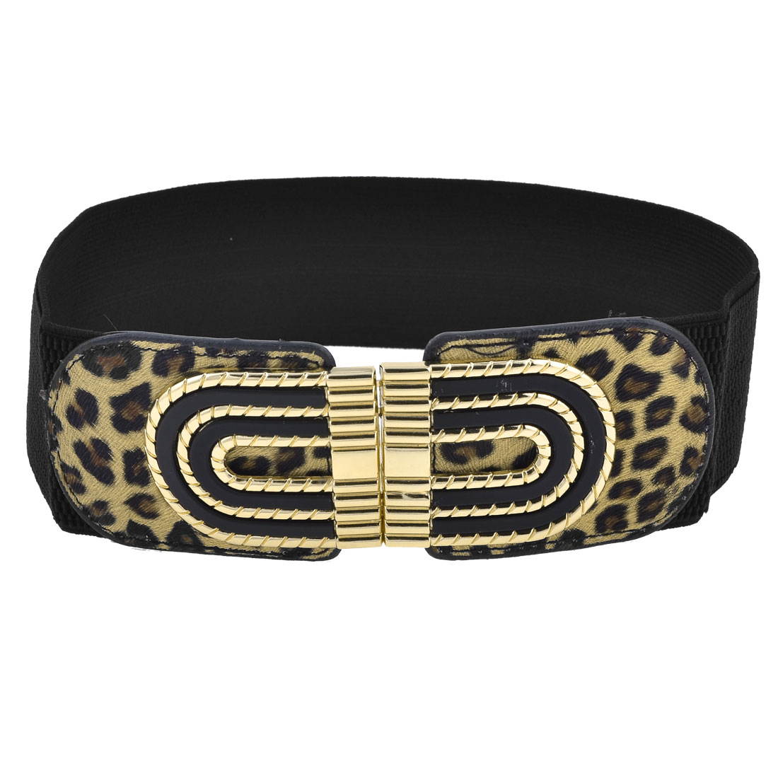 Black Elastic Band Faux Leather Leopard Pattern Belt for Ladies