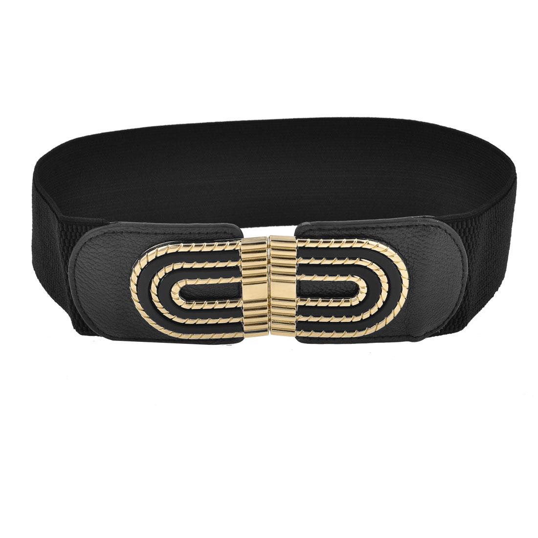 Black Elastic Band Arch Shape Interlocking Buckle Belt for Girls