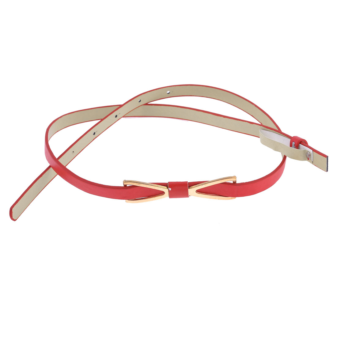 Red Slim Faux Leather Copper Tone Metal Bow Shape Accent Belt for Women