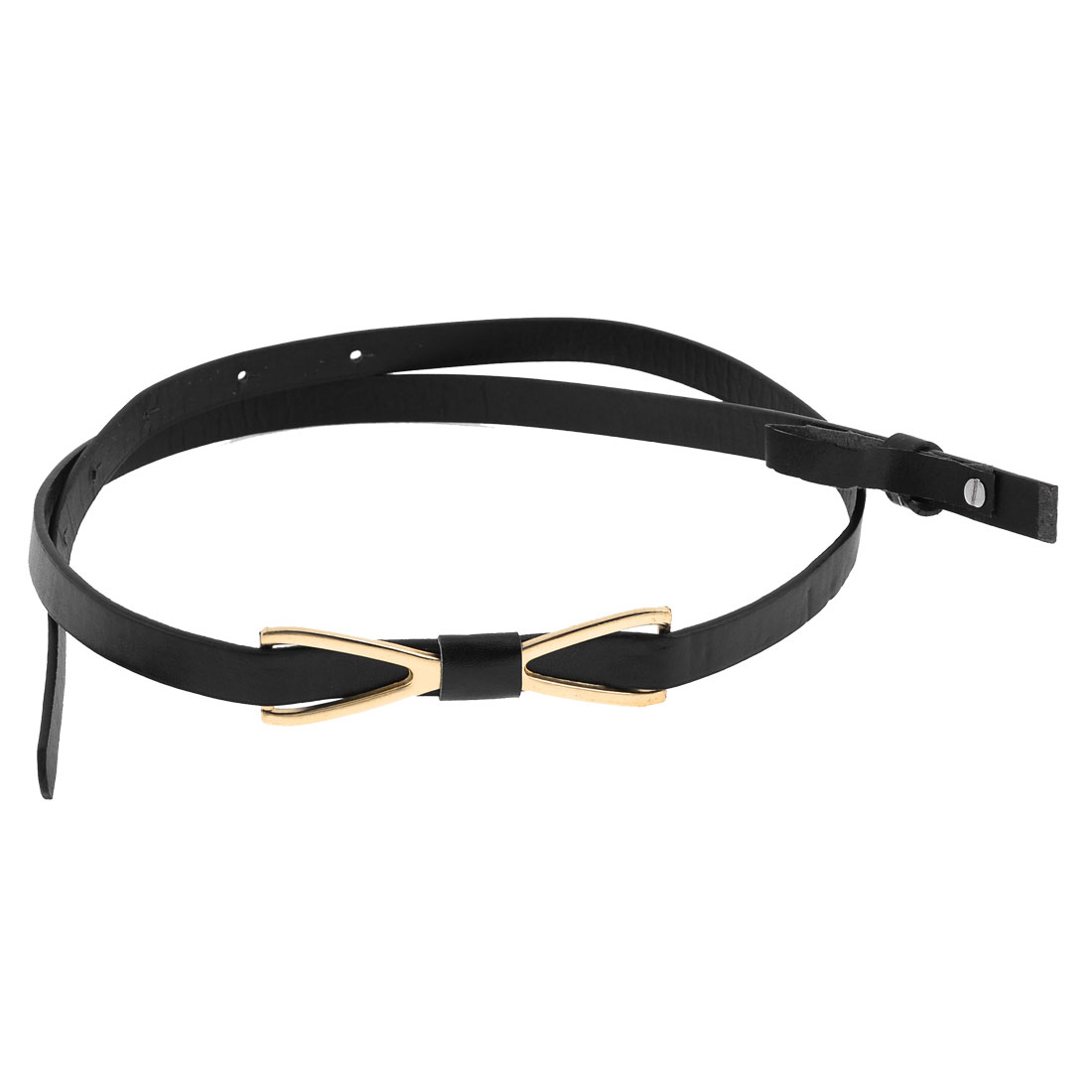 Black Slim Faux Leather Copper Tone Bow Shape Decor Belt for Girls