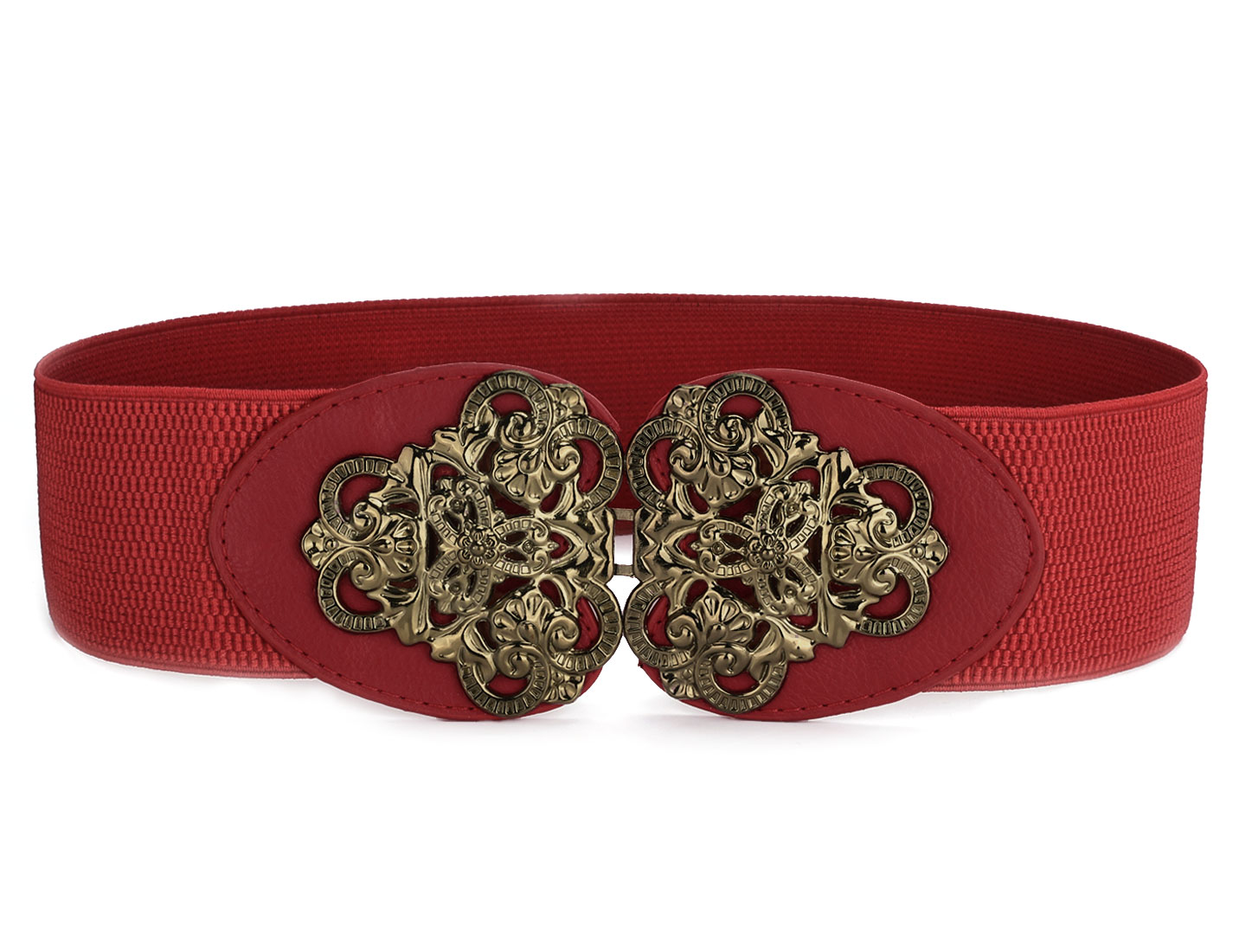 Red Elastic Faux Leather Horns Shape Decor Dress Belt for Girls