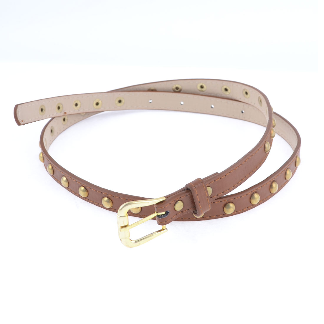 Brown Faux Leather Gold Tone Round Rivets Decor Belt for Women