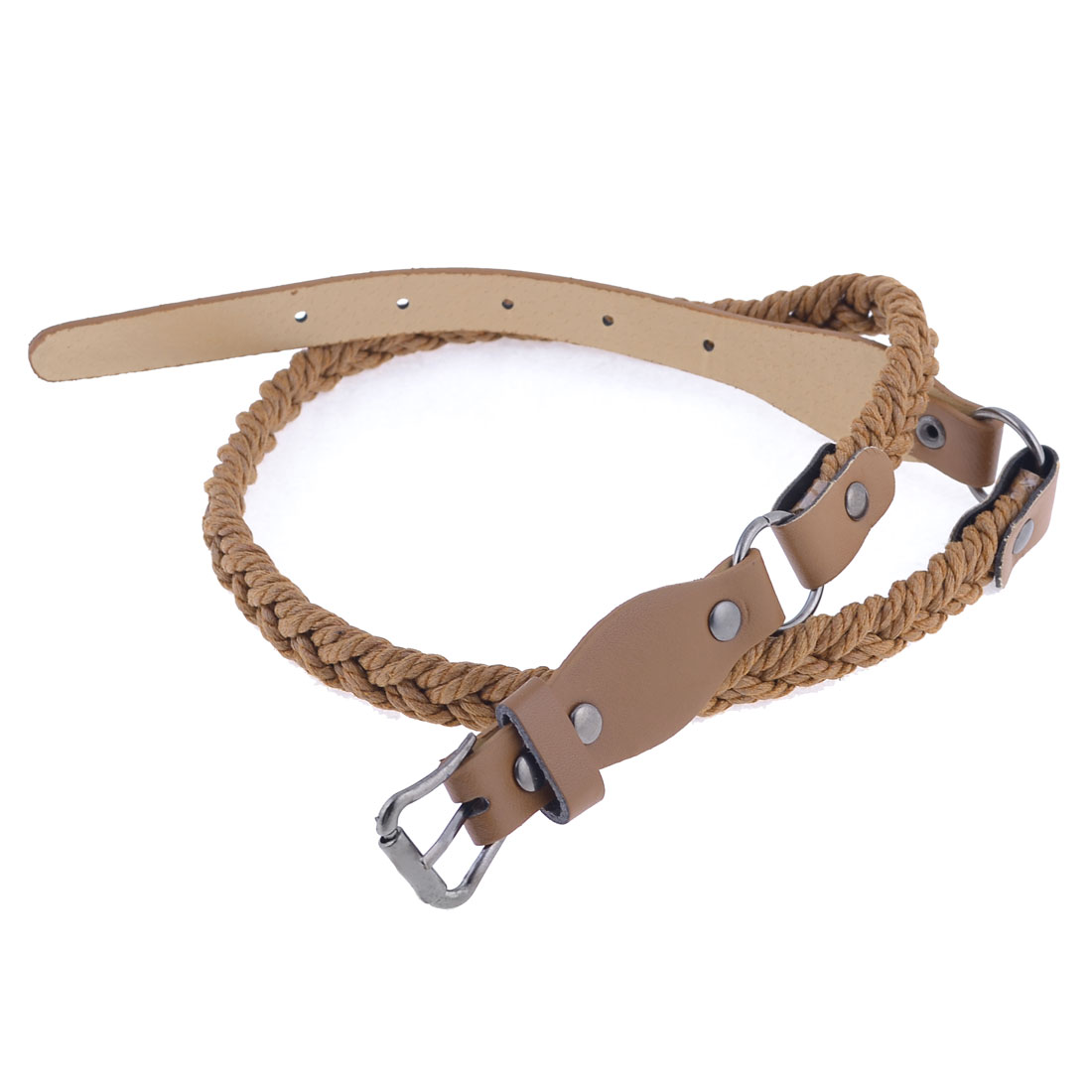 Brown Faux Leather Braided Rope Shape Waist Belt for Girls