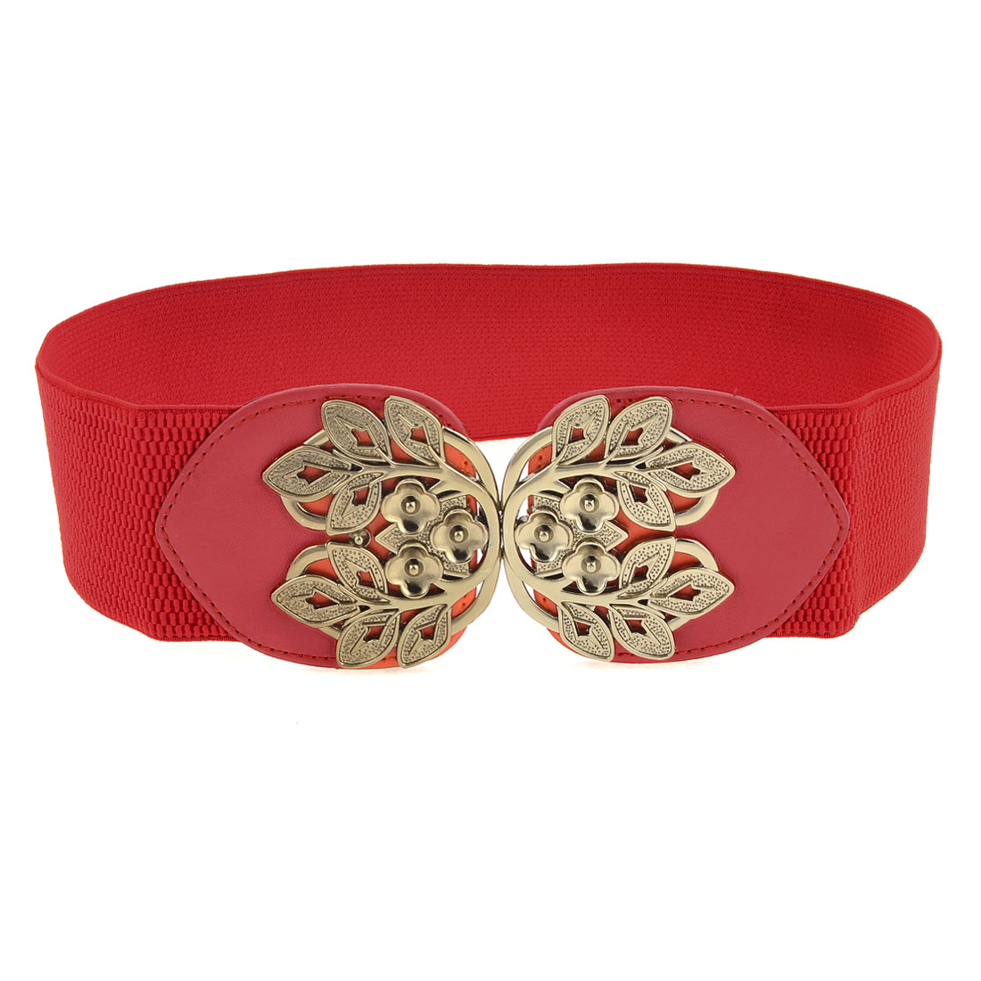 Red Elastic Band Gray Metal Plum Blossom Design Cinch Belt for Girls