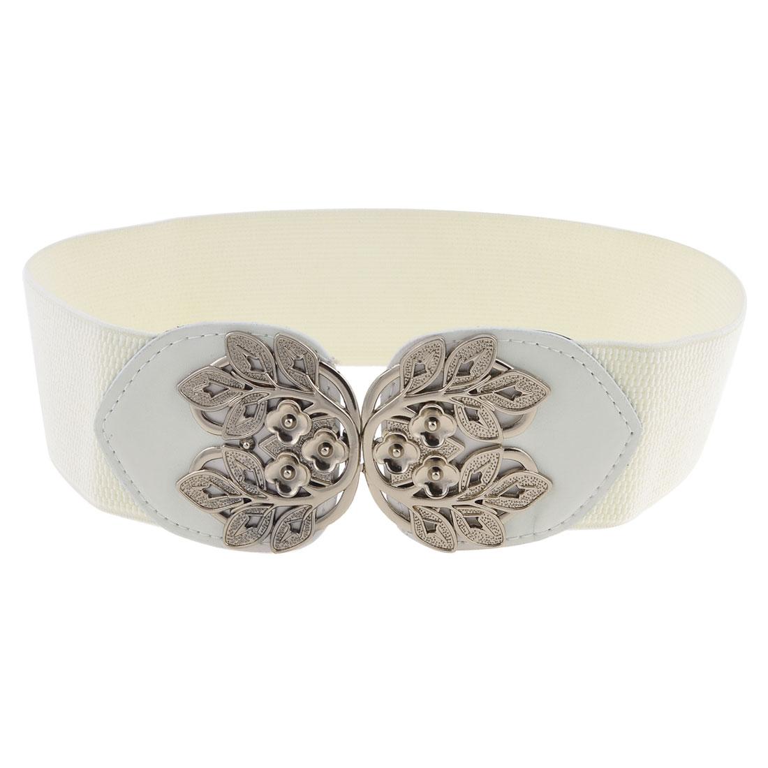 White Cotton Elastic Fabric Plum Blossom Design Dress Belt for Ladies