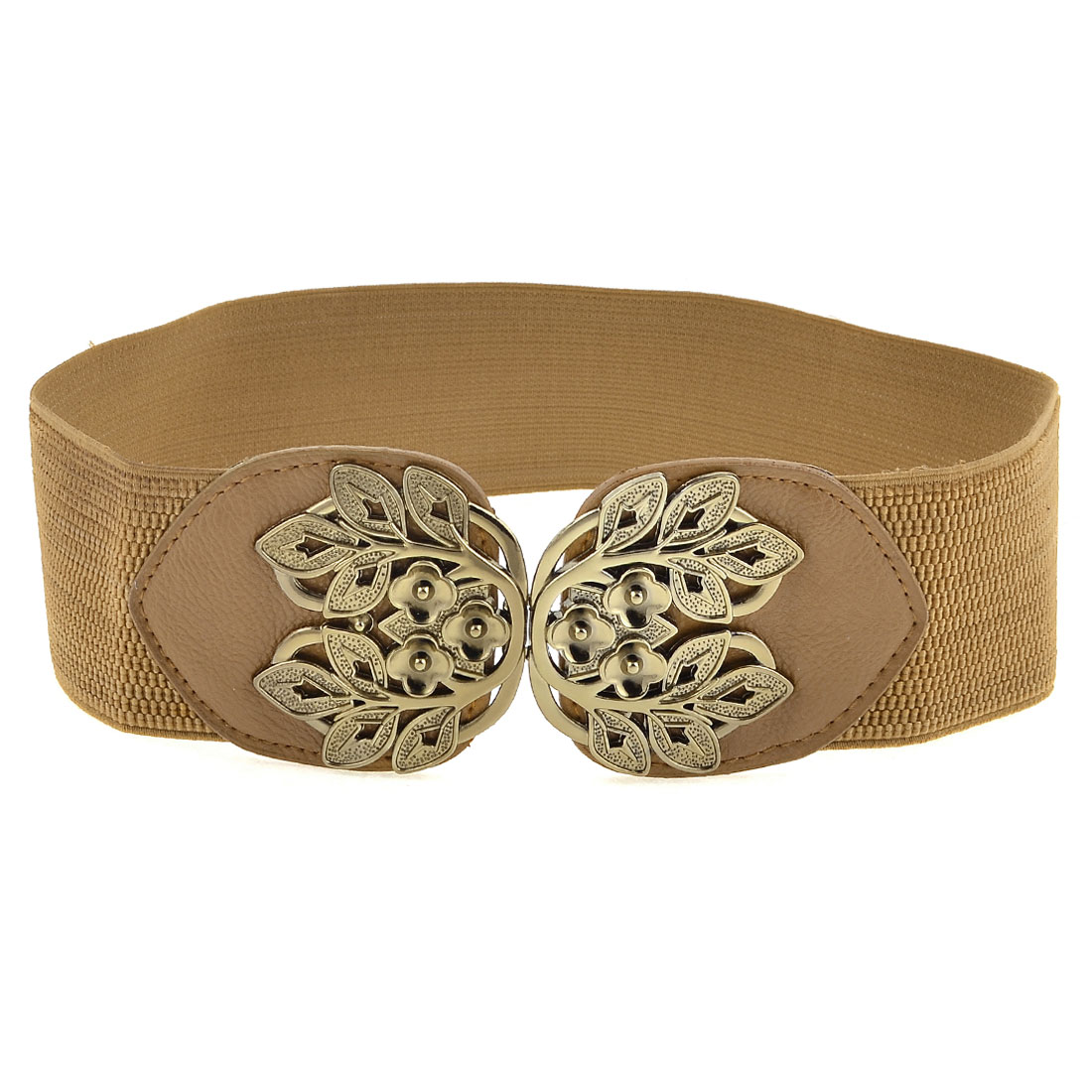 Brown Faux Leather Screw Fixed Cotton Elastic Fabric Cinch Belt for Girls