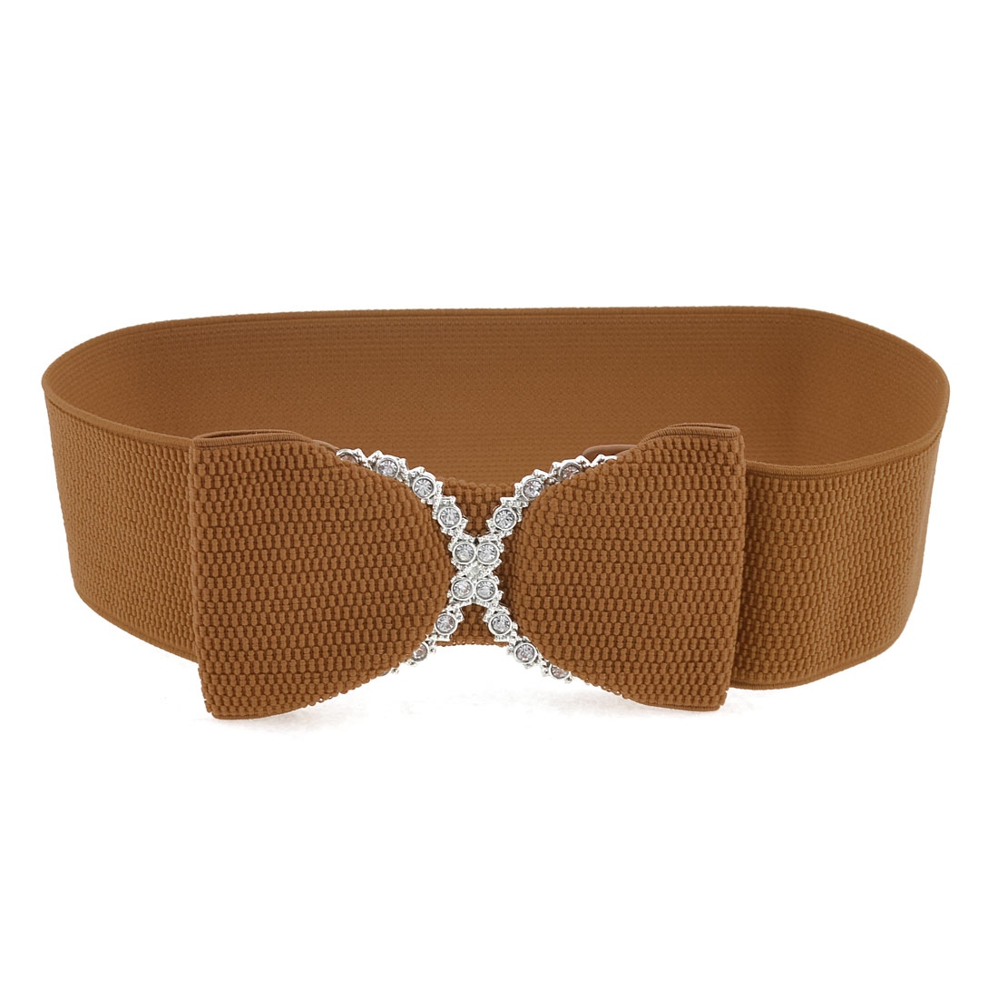 Brown Wide Elastic Band Rhinestones Decor Waist Belt for Women