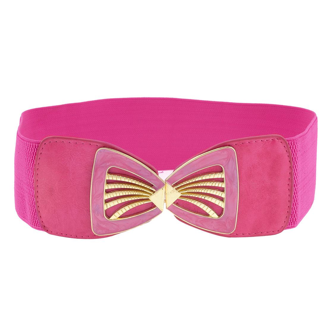 Fuchsia Faux Leather Elastic Band Seashell Chape Buckle Belt for Girls